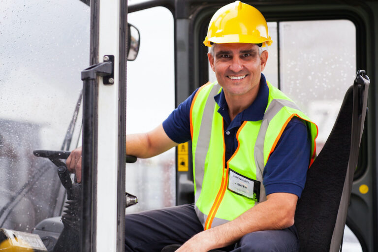 middle aged forklift operator